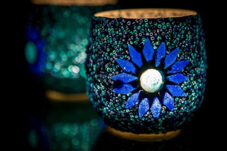 Oosterse waxinehouder   Blauw   Mozaiek   Oosters interieur   Online   Outlet   Kalini