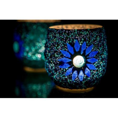 Oosterse waxinehouder | Blauw | Mozaiek | Oosters interieur | Online | Outlet | Kalini
