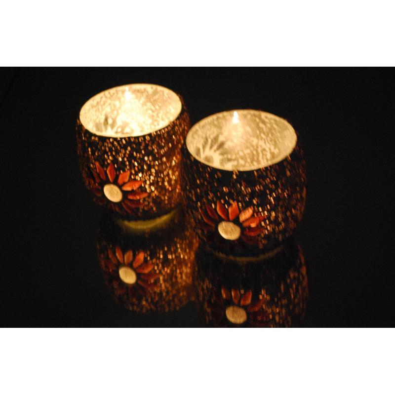 Oosterse waxinehouder   Paars   mozaiek   Arabische verlichting   Oosters interieur