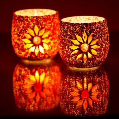 Oosterse waxinehouder | Rood | mozaiek | Oosters interieur | Arabische lampen