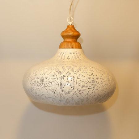 Arabische hanglamp   Marokkaanse lampen   Wit goud   Filigrain   Gaatjes lamp