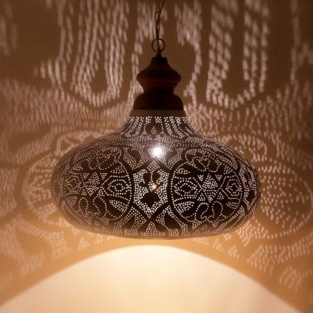 Arabische hanglamp | Filigrain | wit goud | Oosterse lampen