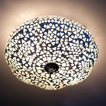 Oosterse plafonniere | Mozaiek | Marokkaanse lampen | Arabische plafonniere | Wit | Glas | Online | Goedkope lampen