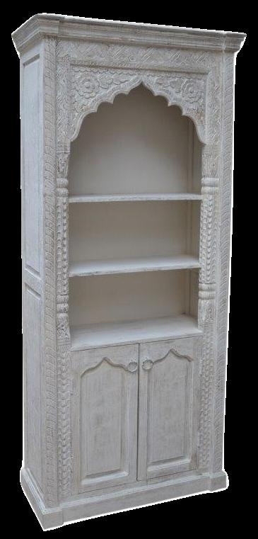Oosterse kast met Arabisch houtsnijwerk prachtige Marokkaanse kasten white wash en naturel massief hout handgemaakte Oosterse meubelen