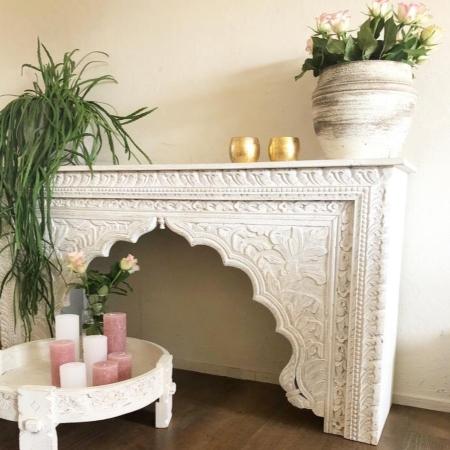 Marokkaanse sidetable | Arabische tafel | Oosterse meubelen | Whitewash | Oosters interieur