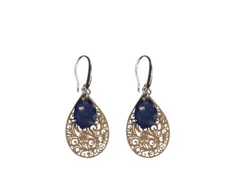 Evi   Verzilverd   Oorbellen   Oorhangers   Mandala   Glaskristal   Blue  