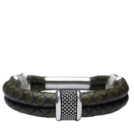 Armband | stoer | Leer | Italiaans | Zamak | Zilver |