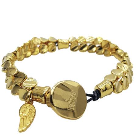 Armband | Gold | Verguld | Twistkralen | Bedeltje | Knoopsluiting |