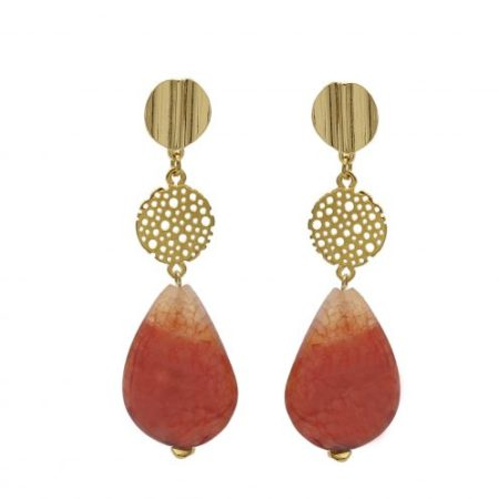 Oorhangers | Verguld Goud | Natuursteen | Coral Red | Opal | Sieraden
