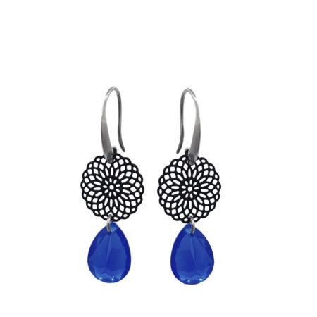 Oorhangers | black | mandala | blue | glaskristal |