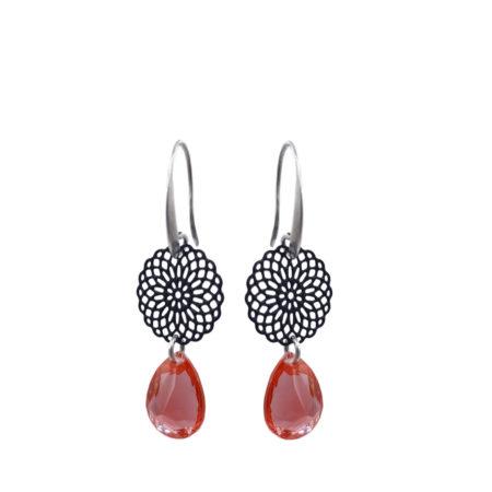 Oosterse oorbellen | Oorhangers | Verzilverd | Glaskristal | padparadcha |