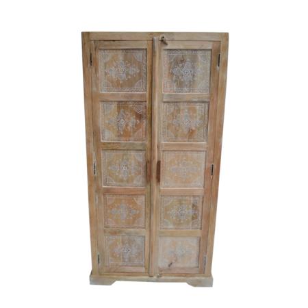 Oosterse kast | Handmade | Indiase meubelen | India kasten | Mangohout | Hoge kast | Oosterse meubelen