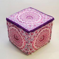 Oosterse poef | Mandala | Vierkante poef | Paars | Hoge poef | Oosters interieur