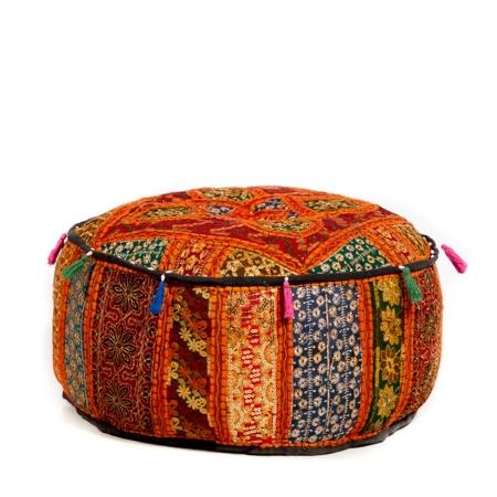 Oosterse poef patchwork | Oranje kleurtint | Handgemaakt | Marokkaanse poef | India poef | Oosters interieur