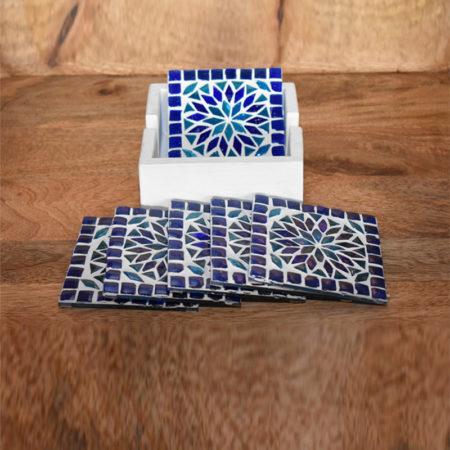 Oosterse onderzetters | Blauw | Glasmozaiek | Oosters interieur | Marokkaanse onderzetters