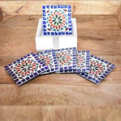 Oosterse onderzetters | Glasmozaiek | Multi-colour | Oosterse meubelen | Interieur | Marokkaanse glasonderzetters
