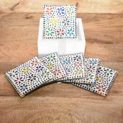 Oosterse onderzetters | Mozaiek | Handgemaakt | Multi-colour | Flower | Oosters interieur