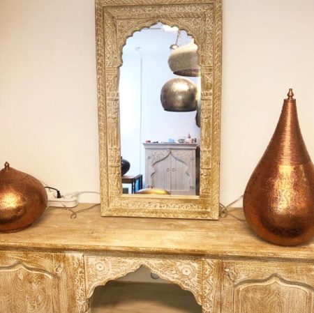 Oosterse spiegel met Arabisch houtsnijwerk | Marokkaanse spiegel | Oosters interieur