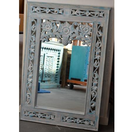 Oosterse spiegel | Blauw | Houtsnijwerk | Marokkaanse spiegels | Arabische inrichting