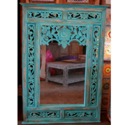 Oosterse spiegel met Arabisch houtsnijwerk | Turquoise | Marokkaanse spiegel | Oosters interieur | Online