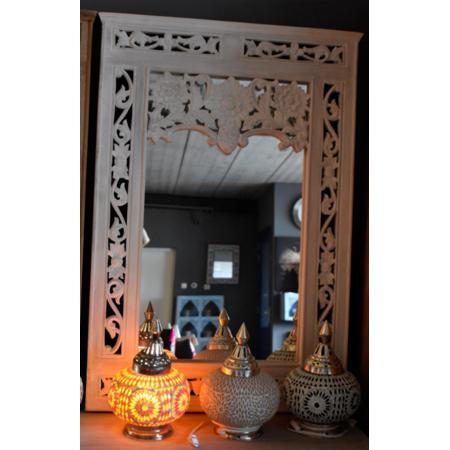 Oosterse spiegel met houtsnijwerk | Whitewash | Oosters interieur