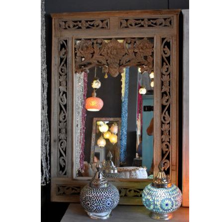 Oosterse spiegel | Houtsnijwerk | Naturel | Oosters interieur | Marokkaanse meubelen