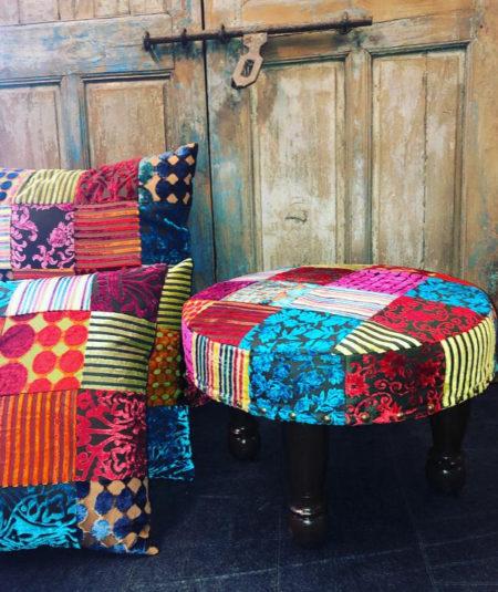 Oosterse poef | Marokkaanse poefen | Patchwork | Kleurrijk | Zitpoef | Oosters interieur | Kalini