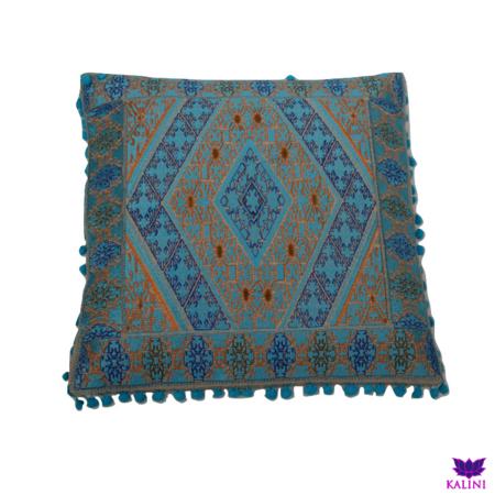 Marokkaans kussen | Bohemian | Turquoise | Goud | Arabisch interieur | Marokkaanse inrichting | Oosterse kussens