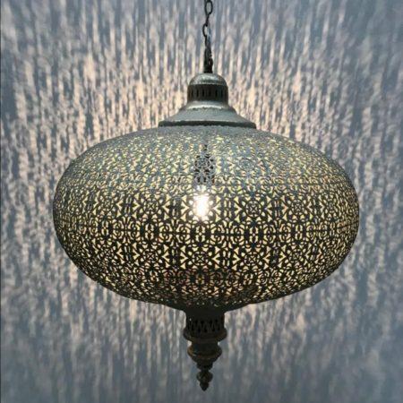 Oosterse hanglamp | Filigrain | Marokkaanse hanglamp | Grijs | Arabische inrichting | Marokkaanse meubelen | Oosters interieur | Sfeerverlichting | Oosterse lampen