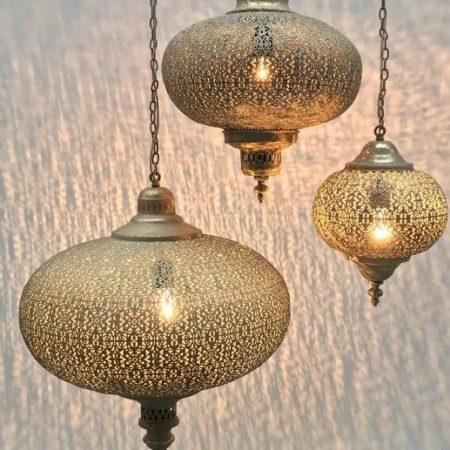 Oosterse hanglampen | Set van 3 maten | Marokkaanse lampen | Modern Oosterse lampen | Filigrain | Gaatjeslamp | Oosters interieur | Oosterse lamp