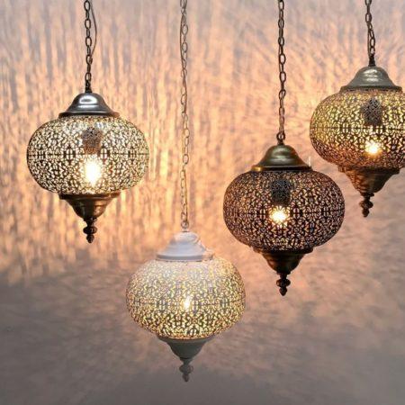 Oosterse lampen | 4 stuks van 25 cm | Wit | Filigrain | Metaal | Marokkaanse hanglampen | Oosterse verlichting