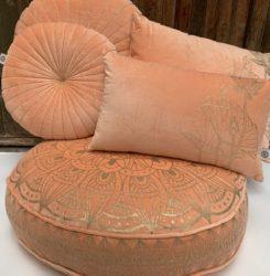 Oosters vloerkussen   Peach   Lotus   Fluweel   Marokkaans vloerkussen