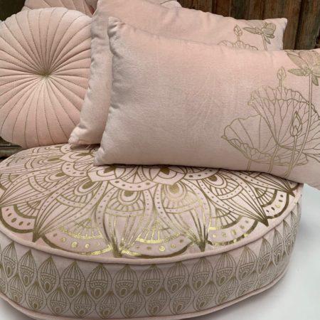 Oosters vloerkussen | Pastel roze | Marokkaanse kussens | Lotus | Oosterse kussens en poefen