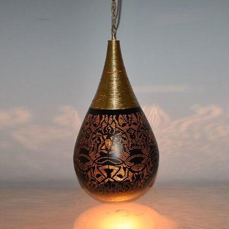 Oosterse hanglamp | Filigrain | Draad | Druppel | Arabische lamp | Marokkaanse lampen | Oosterse verlichting | Kalini | Zwart | Goud