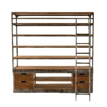 Industriële boekenkast | Stoer industrieel meubel | Boekenkast | Vintage | Gunmetal | Met trappetje | Modern industrieel meubel