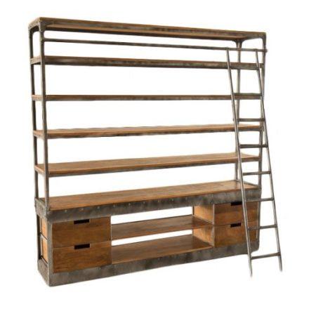 Industrieel meubel | Industriele boekenkast | Metaal | Met vintage lades | Trappetje naast de boekenkast | Moderne stoere industriële kast