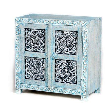 Oosterse kast | Blue washed | Blauw | Mozaiek | Oosterse kasten | Arabische meubelen | Moderne Oosterse meubelen | Voor de beste prijzen online | Gratis bezorgd in Nederland!