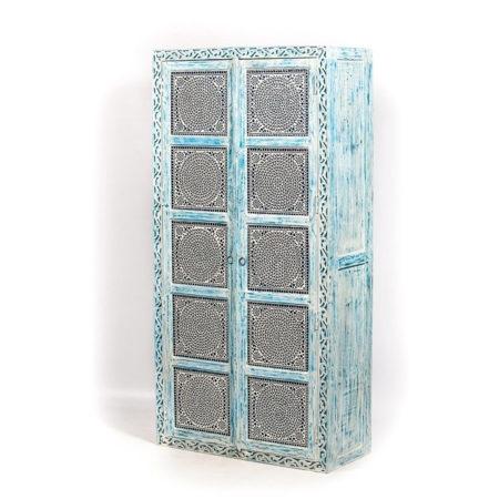 Oosterse kasten | Hoge kast | Blauw | Mozaiek | Moderne Oosterse meubelen | Kalini | online | Belgie | Nederland | Amsterdam | Snelle levering | Beste prijzen