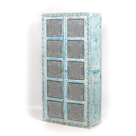 Oosterse kasten   Hoge kast   Blauw   Mozaiek   Moderne Oosterse meubelen   Kalini   online   Belgie   Nederland   Amsterdam   Snelle levering   Beste prijzen