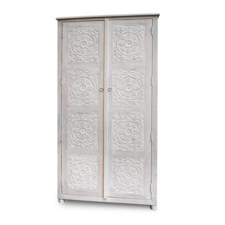 Oosterse kast | whitewash | Houtsnijwerk | Kast met deuren | Hoge kast | Oosterse meubelen | Arabische kasten | Oosterse kussens | Kalini