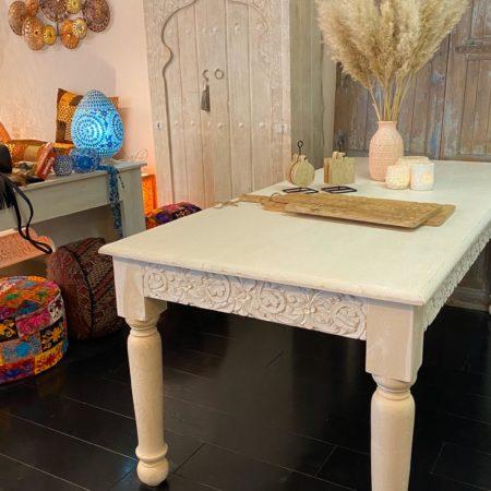 Oosterse eettafel | Whitewashed | Marokkaanse meubels | Oosterse tafels | Arabisch interieur | Moderne Oosterse meubels