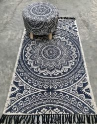 Oosters vloerkleed | Marokkaanse vloerkleden | Wit met donkerblauw | Indigo print | Katoen | Oosters interieur