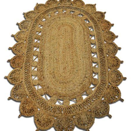 Marokaans vloerkleed | Naturel kleur | Handgemaakt van Jute | Fair label | wandkleed | Oosters vloerkleed