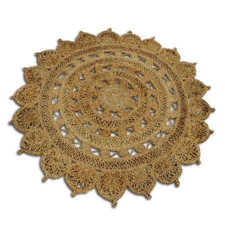 Marokkaans vloerkleed in prachtige naturel kleur mooi te combineren met de Marokkaanse meubels uit onze collectie | rond vloerkleed 100% handgemaakt van jute | Oosterse vloerkleden