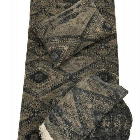 Oosters vloerkleed | Grijs met bruin | Diamant motief | Marokkaanse vloerkleden | Oosters interieur | Katoen