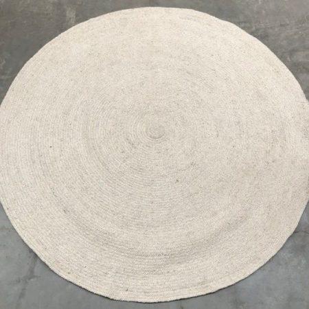 Oosters vloerkleed | Ecru | Rond | Gevlochten vloerkleed | Marokkaanse vloerkleden | Oosters interieur | Arabisch vloerkleed | Oosterse meubelen | Kalini