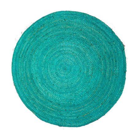 Oosters vloerkleed | Turquoise | Handgemaakt | Diameter 120 cm | gevlochten jute | fel gekleurde Oosterse vloerkleden nu bij Kalini!