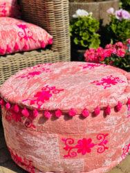 Oosterse poef | Roze | Handgemaakt | stevige kwaliteit | Beste prijzen | Eigen import | Online Oosterse poef | Kleurrijke lounge poef