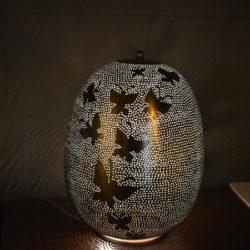 Oosterse tafellamp | Arabische lamp | Zilver | Filigrain | Gaatjes lamp | Metaal | Butterfly | Nieuw in de collectie Kalini | Mooie Oosterse lampen | Marokkaanse verlichting | Oosterse meubelen | Scherpe aanbiedingen | Beste prijzen