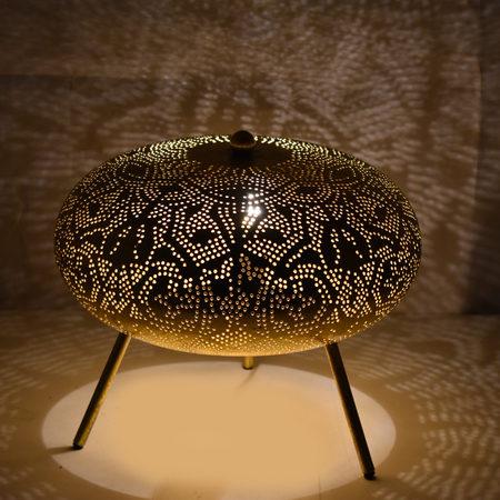 Oosterse tafellamp | Arabisch filigrain | Metaal | Gaatjes lamp | Oosterse sfeerverlichting | zwart goud | Marokkaanse lampen